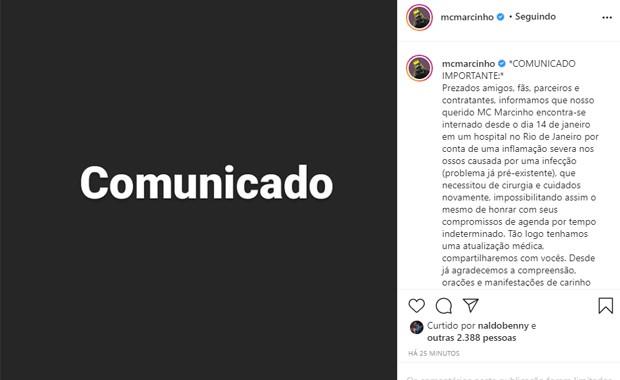 MC Marcinho está internado com inflamação severa nos ossos (Foto: Reprodução/Instagram)