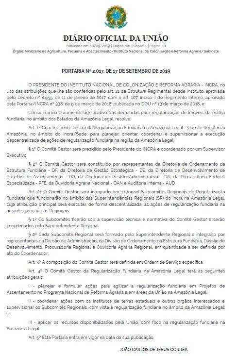 Incra cria comitê para agilizar a regularização fundiária na Amazônia Legal - Notícias - Plantão Diário