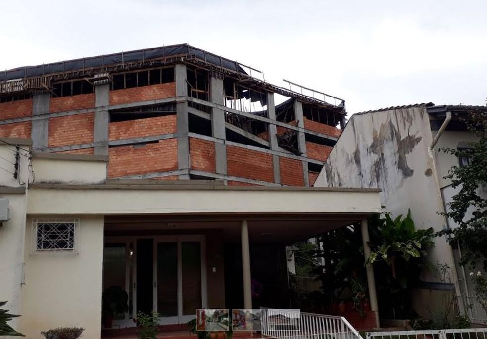Laje de prédio em construção desabou e deixou feridos em Concórdia, SC. — Foto: Ederson Vilas Boas/Rádio Rural