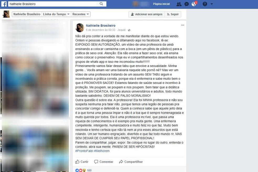 Aluna fez postagem em rede social em que defende a professora: 'Uma enfermeira competente, inteligente, humanizadora e muito feliz no que faz