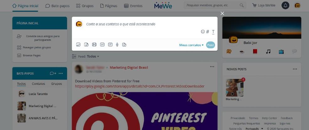 MeWe possui interface semelhante ao Facebook mas não mostra anúncios — Foto: Reprodução / Barbara Ablas