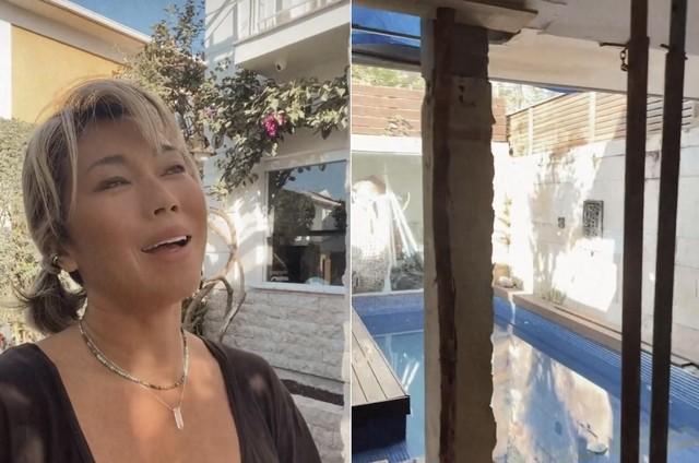 Dani Suzuki mostra piscina da casa, que tem dois andares (Foto: Reprodução)