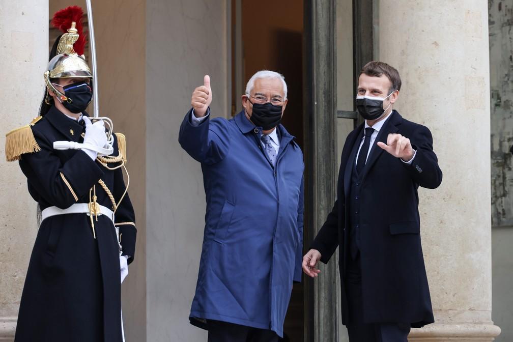 O primeiro-ministro de Portugal, António Costa, reuniu-se nesta quarta-feira (16) com o presidente da França, Emmanuel Macron, no Palácio do Eliseu, em Paris — Foto: Thomax Coex/AFP