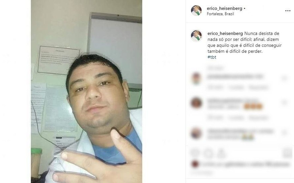 Maqueiro fingia ser médico nas redes sociais utilizando nome inspirado em série norte-americana em Fortaleza. — Foto: Reprodução/Instagram