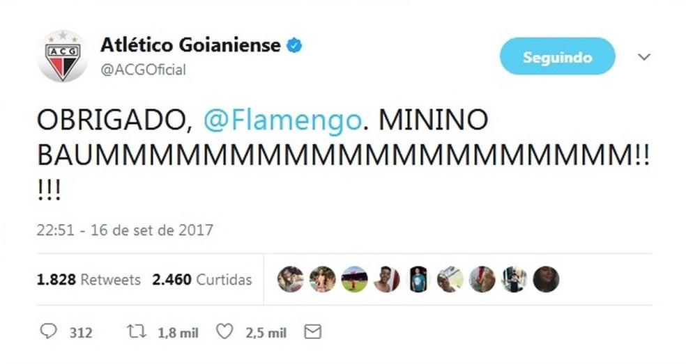 Atlético-GO agradece ao Flamengo pelo empréstimo de Ronado (Foto: Reprodução / Twitter)