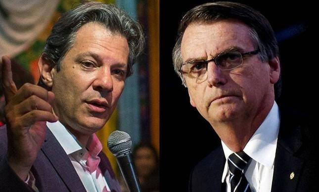 Os candidatos Fernando Haddad e Jair Bolsonaro