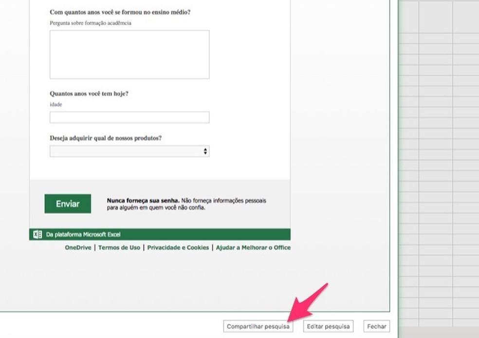 Ação para visualizar o link de compartilhamento para uma pesquisa criada no Excel Online — Foto: Reprodução/Marvin Costa