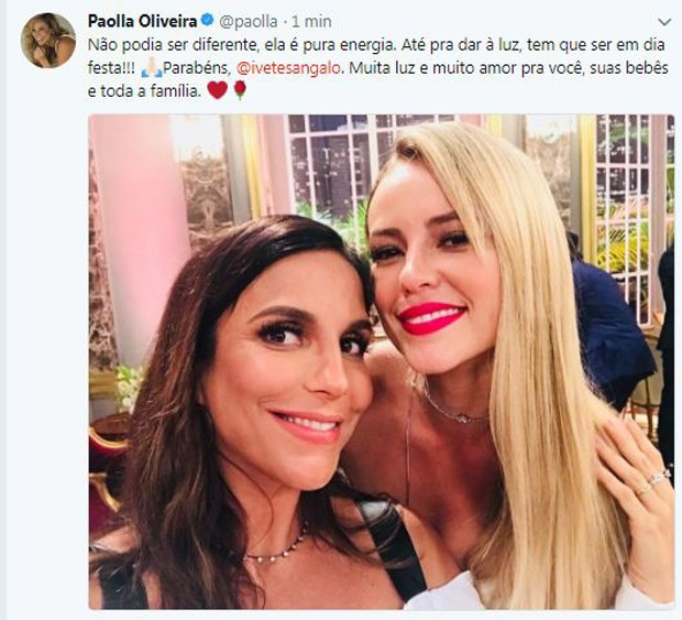Paolla Oliveira e Ivete Sangalo (Foto: Reprodução / Twitter)