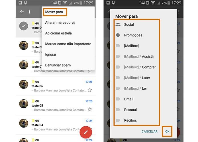 Mova determinados e-mails para outras caixas no app do Gmail para Android (Foto: Reprodução/Barbara Mannara)