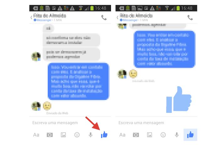 Enviando uma curtida estendida no Facebook Messenger do Android (Foto: Reprodução/Marvin Costa)