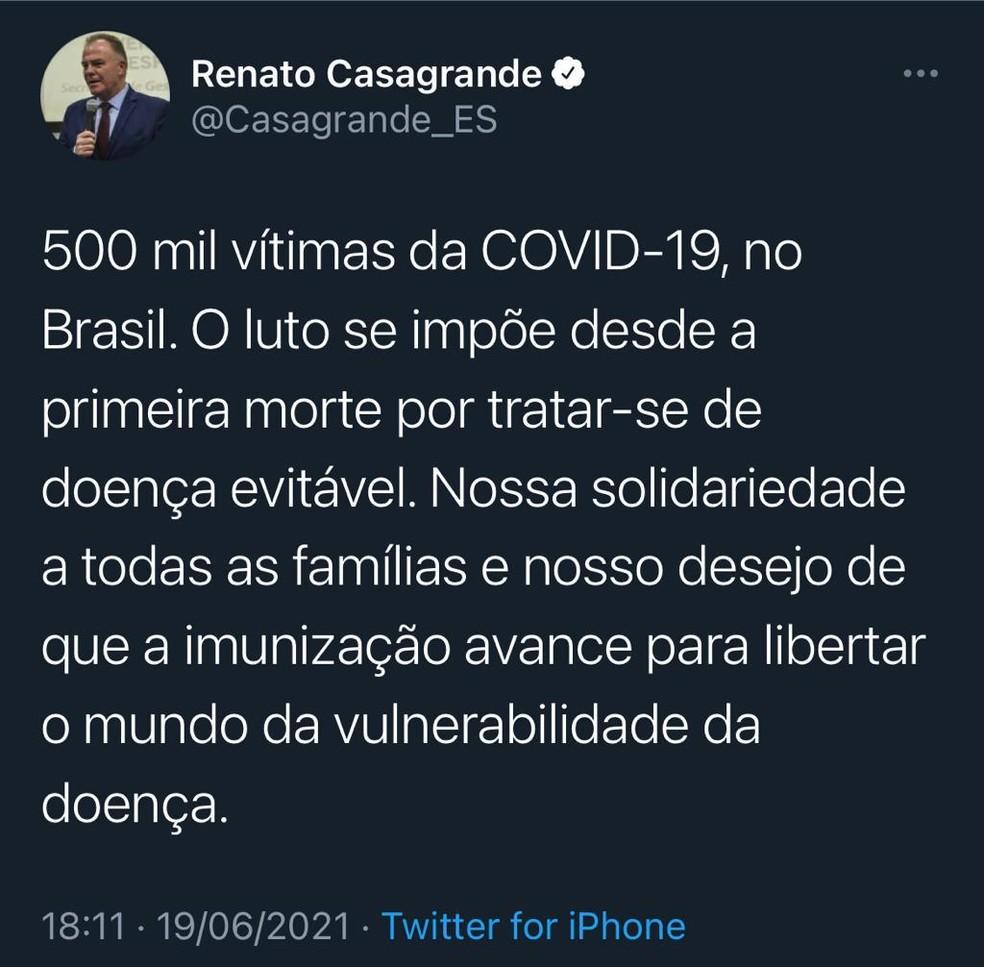 Renato Casagrande se solidarizou com famílias de vítimas da Covid-19 — Foto: Reprodução/Twitter