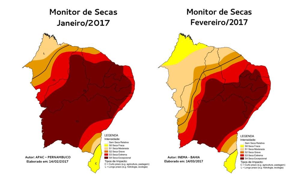 Comparação de mapa de seca do Nordeste entre janeiro e fevereiro (Foto: Divulgação/Monitor de Secas)