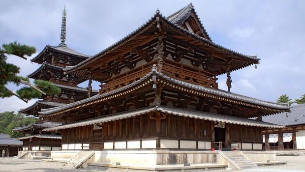 Templo Horyuji, edifício de madeira no Japão erquido em 700 a.C (Foto: Wikipedia)