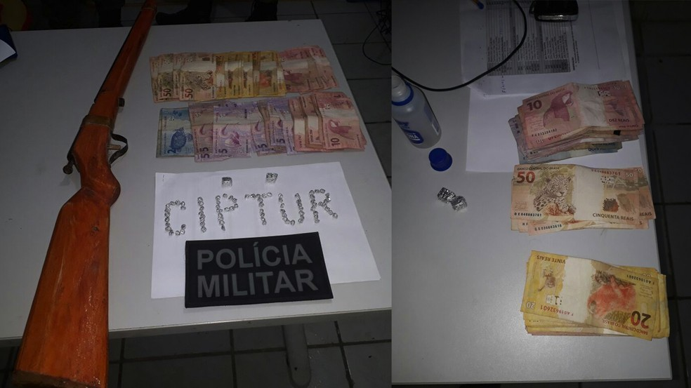 Foi encontrado com o supeito um frsco de acetona com aproximadamente 80 pedras de crack e mais uma espingarda e uma quantia em dinheiro no valor de R$ 910.  (Foto: Divulgação/ Polícia Militar. )