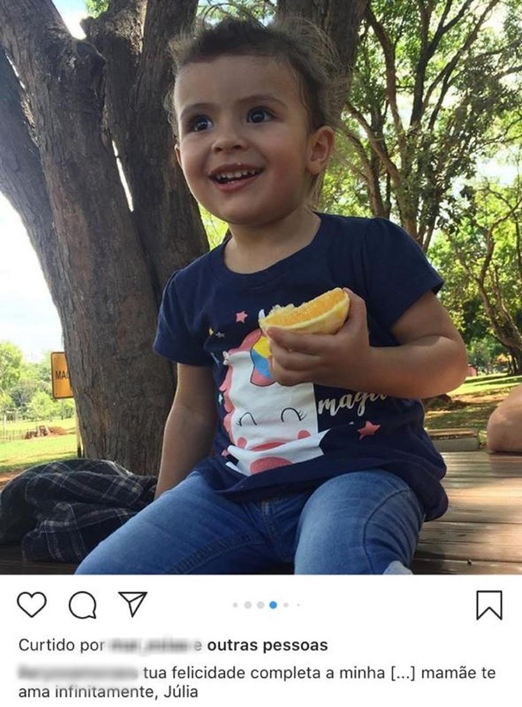 Julia Felix de Moraes, de 2 anos, foi morta no DF — Foto: Instagram/Reprodução
