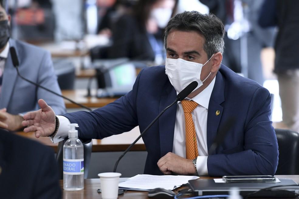 Senador Ciro Nogueira (PP-PI) em sessão da CPI da Pandemia, em 8 de julho de 2021.   — Foto: Edilson Rodrigues/Agência Senado