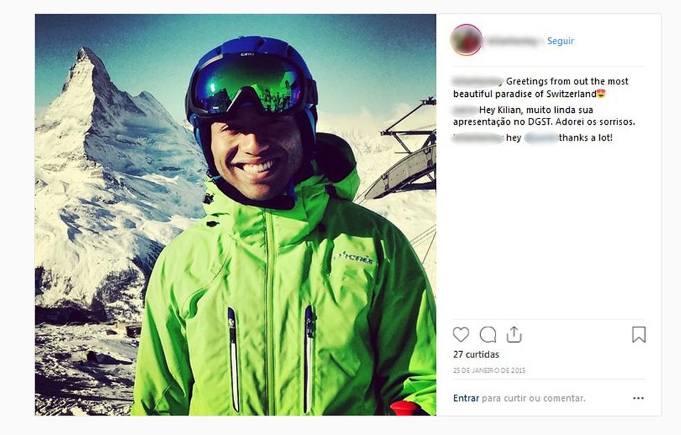 Foto do Instagram de Kilian mostra ele esquiando na Suíça, onde trabalha numa seguradora — Foto: Reprodução/Arquivo pessoal/redes sociais