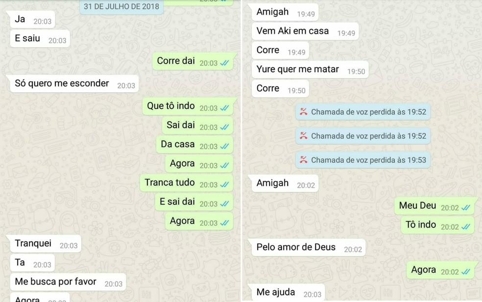 Conversas no WhatsApp entre Patrícia Aline da Silva e a amiga em Palmas (TO) (Foto: Reprodução/WhatsApp)