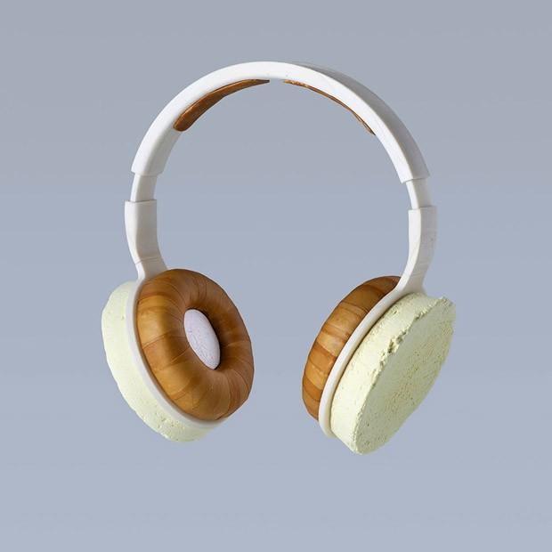 Fone de ouvido criado em laboratório é feito com fungos e bioplástico (Foto: Divulgação)