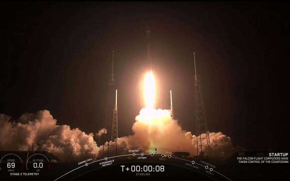 Imagem mostra lançamento de foguete Falcon 9 com 60 satélites Starlink da SpaceX — Foto: SpaceX / via AFP Photo