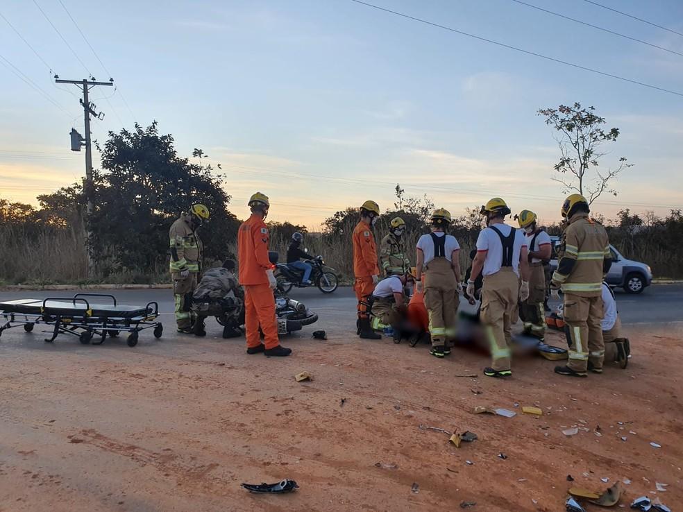Motociclista morre em acidente na DF-140, em São Sebastião — Foto: Corpo de Bombeiros/Reprodução