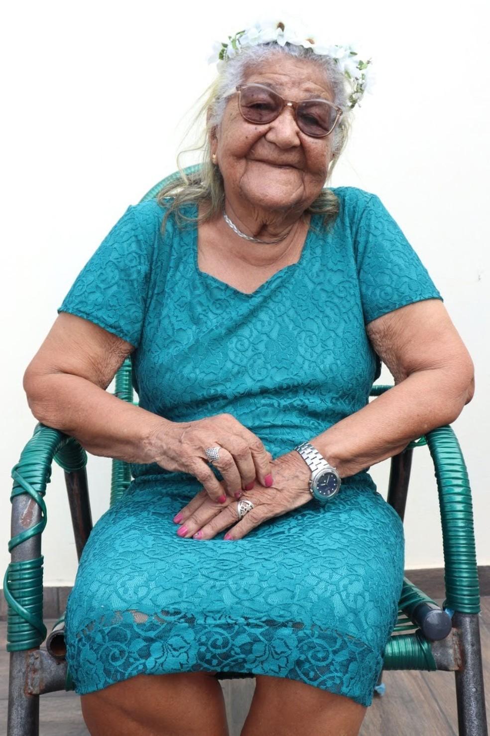 Dona Maria tem 101 anos e mora em Promissão, no interior de SP — Foto: Arquivo pessoal/Pâmela Cristina Matias Gomes