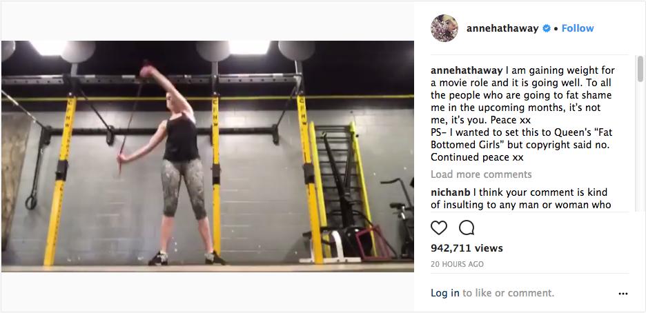 A atriz Anne Hathaway no post em que ataca seus futuros haters (Foto: Instagram)