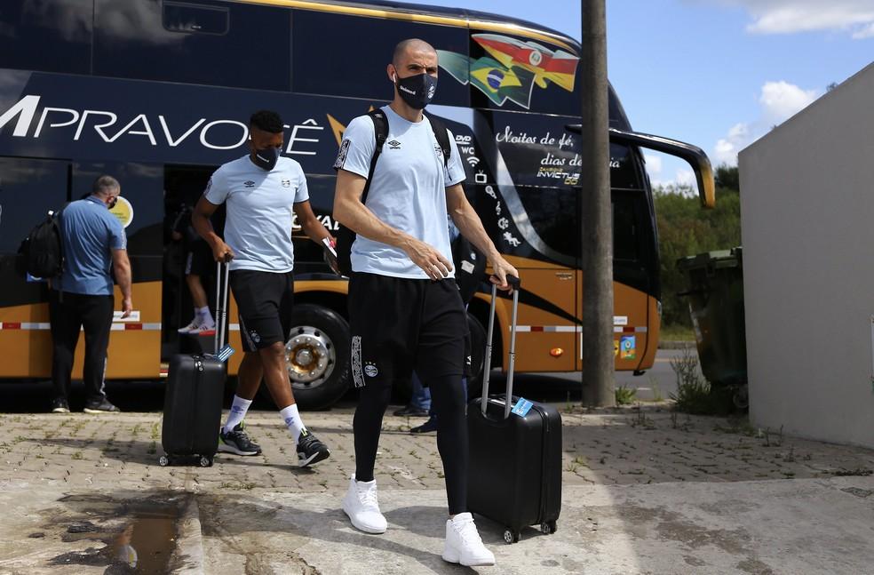 Grêmio, do goleiro Vanderlei, irá se acostumar às viagens em novembro — Foto: Lucas Uebel / Grêmio FBPA
