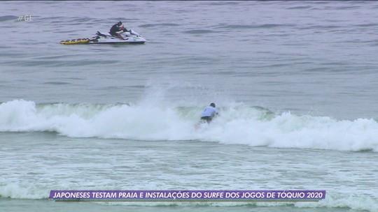 Japoneses testam praia e instalações do surfe dos jogos de Tóquio 2020