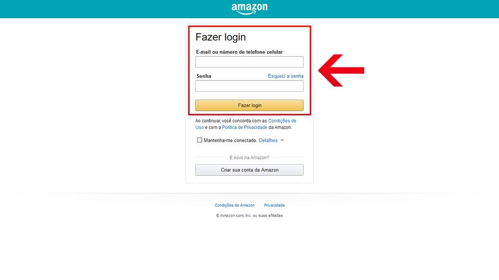 Preencha o e-mail ou número de telefone celular e senha da Amazon Prime Video  — Foto: Reprodução/Leandro Eduardo