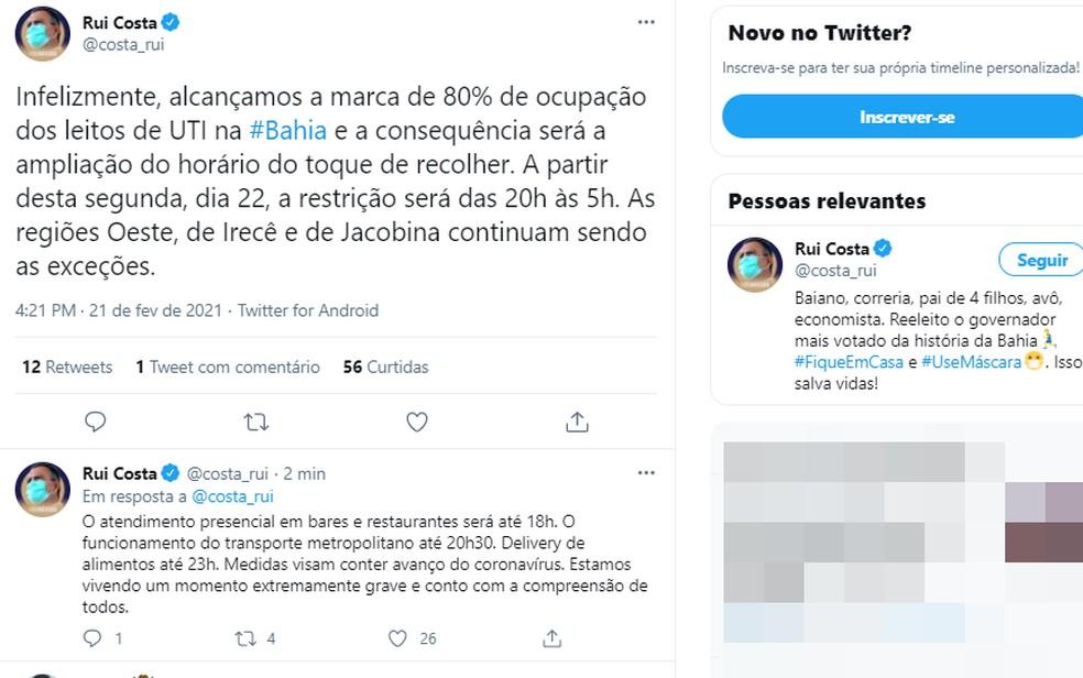Rui Costa anunciou deste domingo ampliação do toque de recolher na Bahia — Foto: Reprodução/Twitter