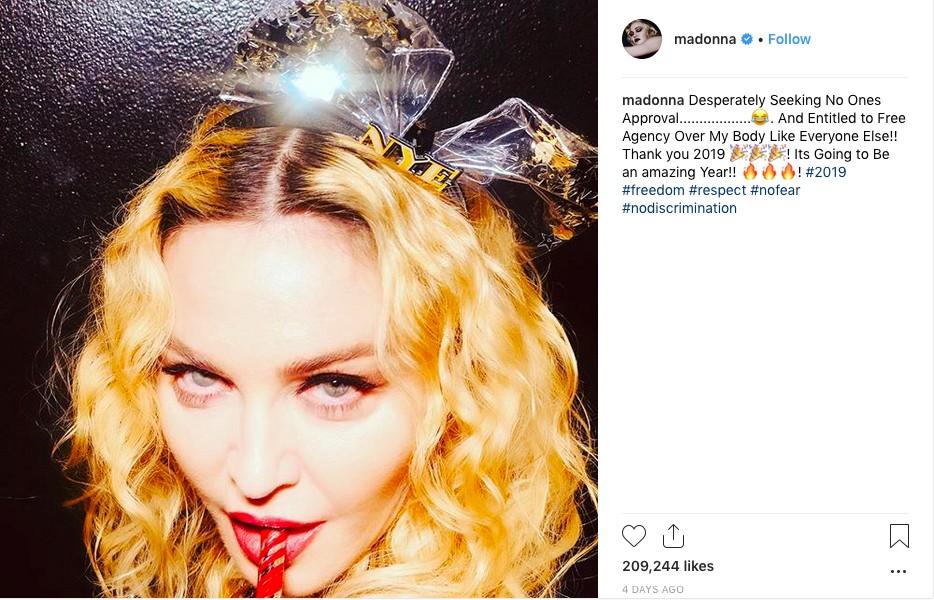 O post no qual Madonna tratou das críticas feitas a ela pelos supostos implantes em seu bumbum (Foto: Instagram)
