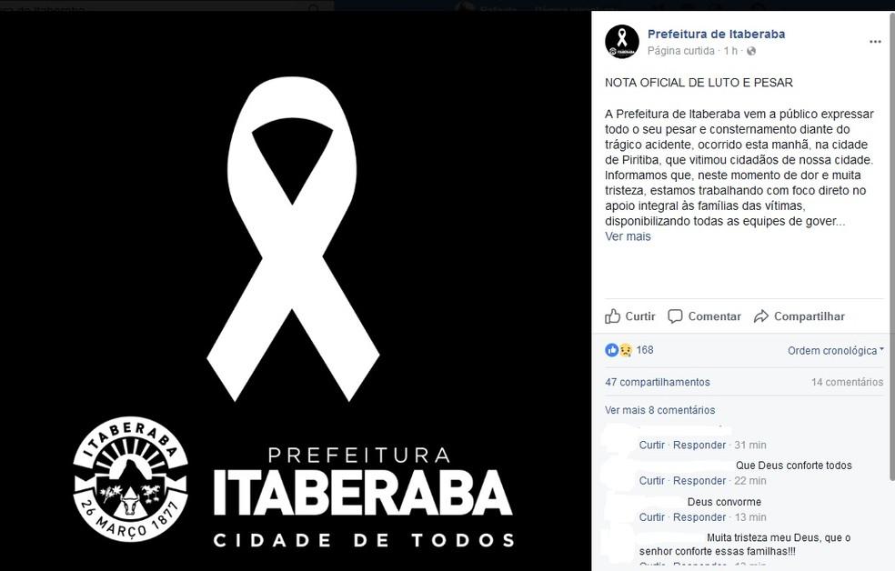 Prefeitura de Itaberaba anunciou luto oficial (Foto: Reprodução/Facebook)