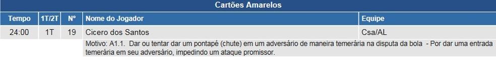 Árbitro relata motivo do cartão amarelo para Didira — Foto: Reprodução/CBF