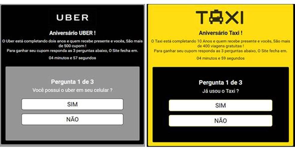 Golpista também criou versões do site para Uber e Táxi (Foto: Reprodução/ Melissa Cruz Cossetti)