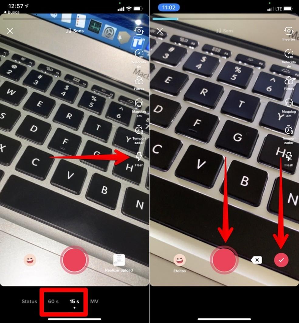Como usar flash de celular no TikTok — Foto: Reprodução/Helito Beggiora