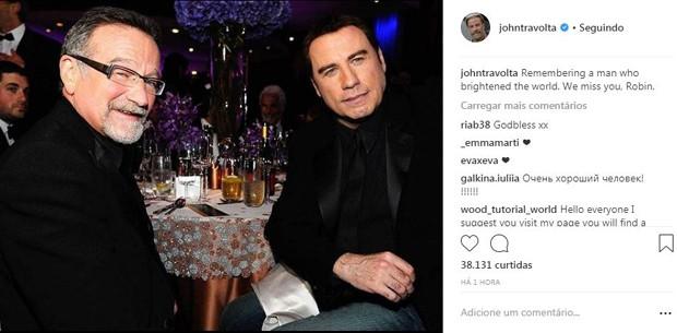 Homenagem de John Travolta pra Robin Williams no Instagram (Foto: Reprodução/Instagram)