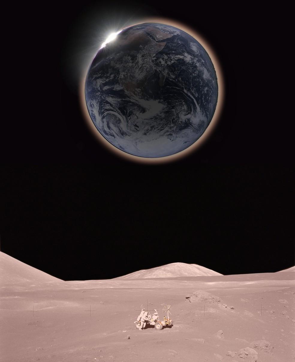 Ilustração mostra como seria observar o eclipse da perspectiva da Lua (Foto: Hana Gartstein )