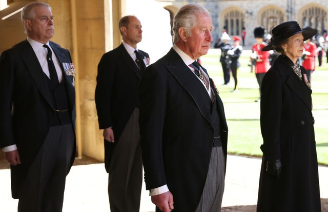 WINDSOR, ENGLAND - APRIL 17: Prince Andrew, Duke of York, Prince Edward, Earl of Wessex, Prince Charles, Prince of Wales and Princess Anne, Princess Royal during the funeral of Prince Philip, Duke of Edinburgh at Windsor Castle on April 17, 2021 in Windso (Foto: WPA Pool/Getty Images)