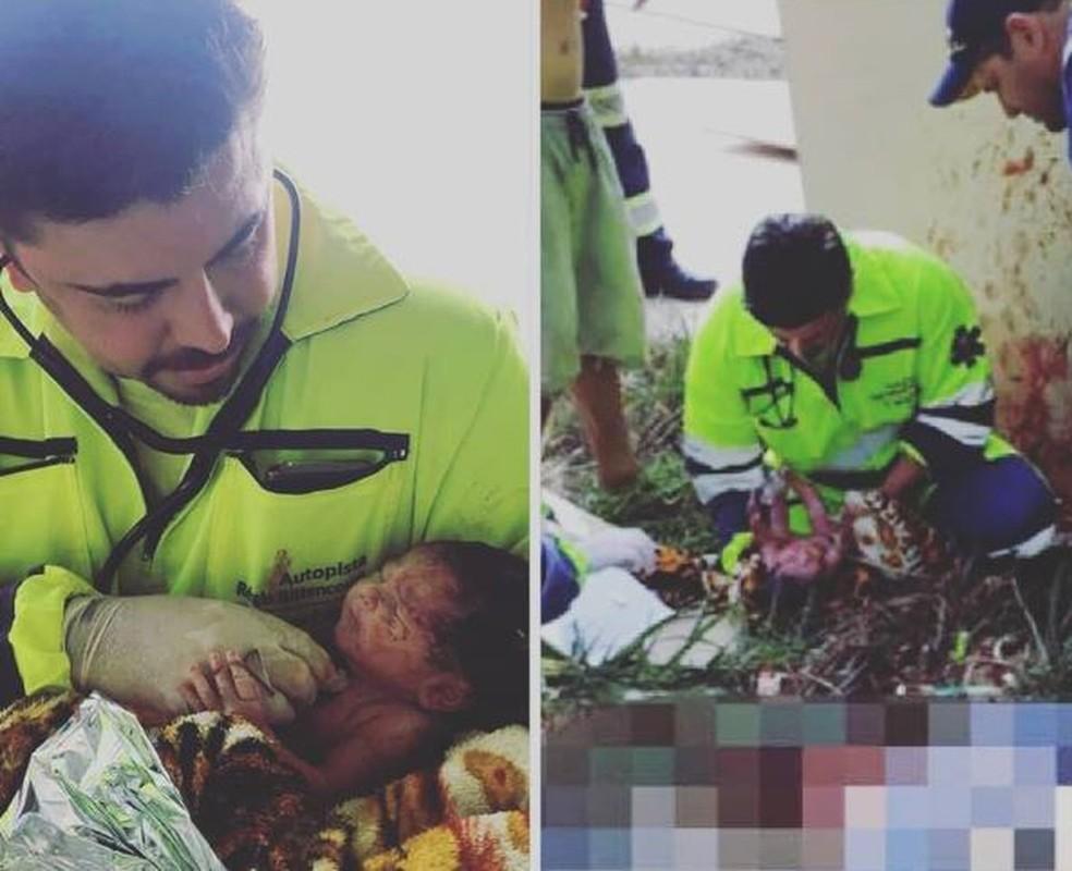 Médico Elton durante o resgate do bebê, na Rodovia Régis Bittencourt (Foto: Divulgação/Arteris)
