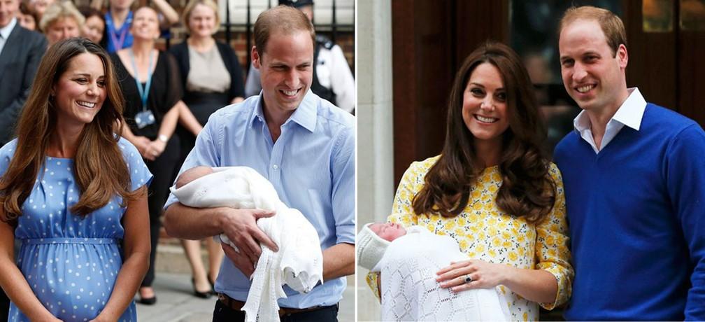 Imagens de arquivo mostram Kate e William saindo da maternidade após o nascimento do Príncipe George (esquerda) e da Princesa Charlotte (direita) (Foto: Lefteris Pitarakis/AP e Suzanne Plunkett/Reuters)