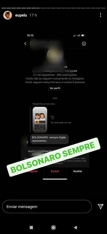 Pe Lu mostra ataques de fãs de Digão  (Foto: Reprodução: Instagram)