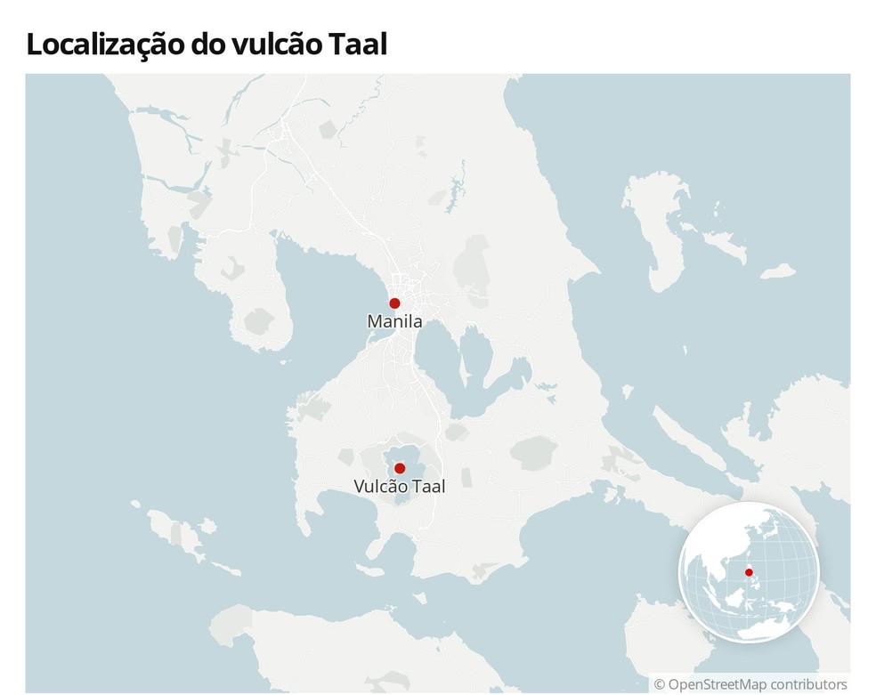 Mapa com a localização de Taal, nas Filipinas — Foto:  G1