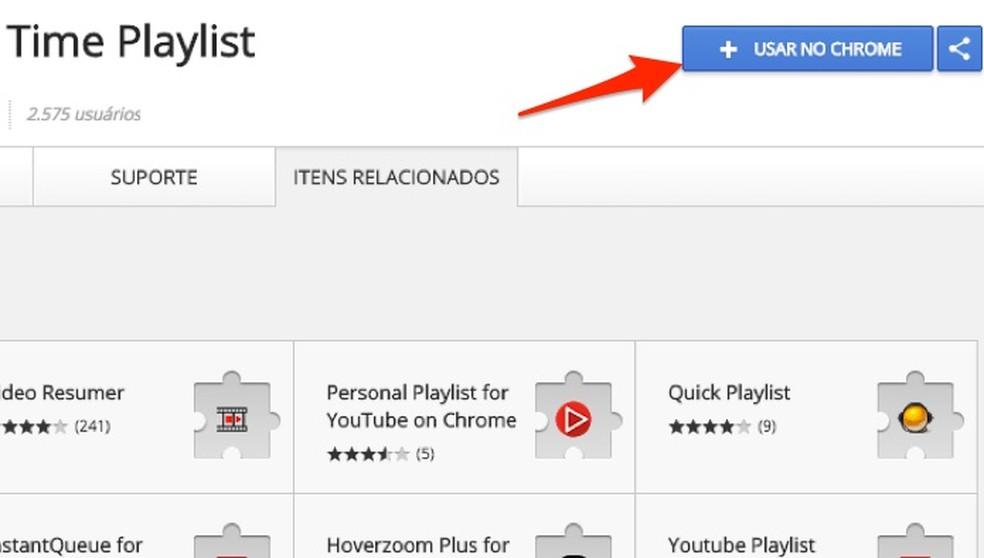 Ação para preparar o download da extensão YouTube Real Time Playlist (Foto: Reprodução/Marvin Costa)