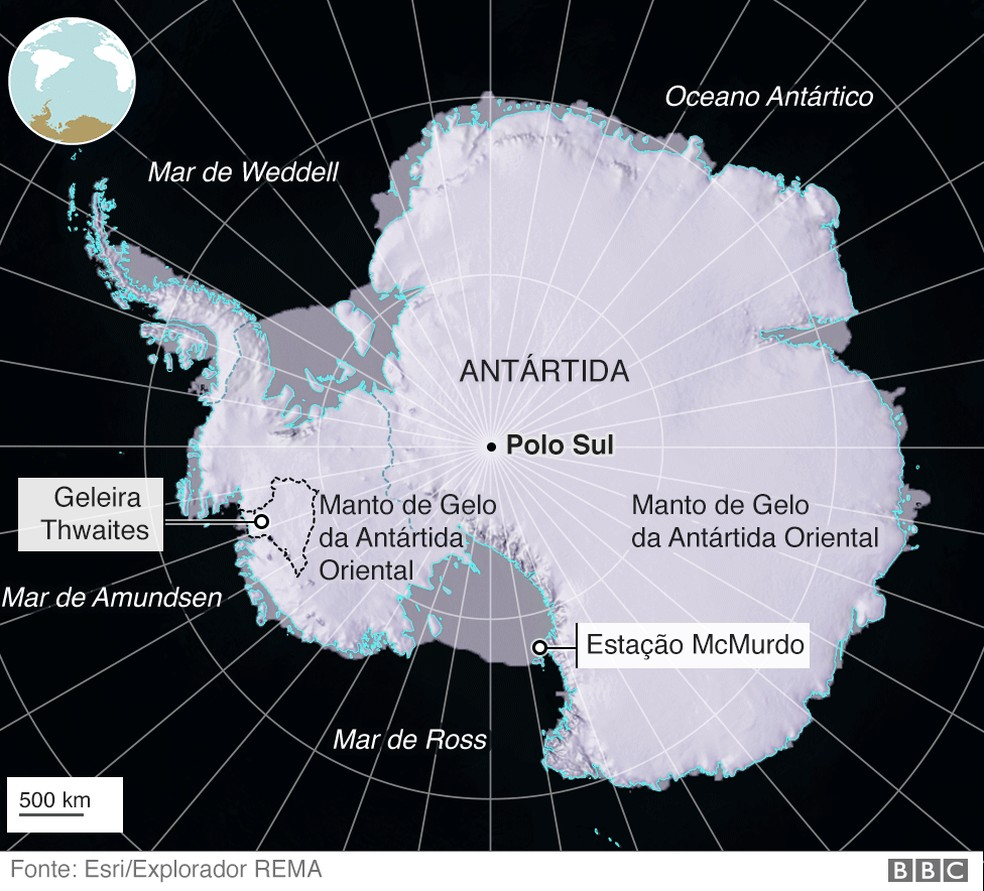 Mapa localiza a geleira Thwaites  — Foto: BBC
