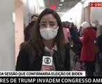 Raquel Krähenbühl durante a cobertura da invasão ao Capitólio, na GloboNews | Reprodução