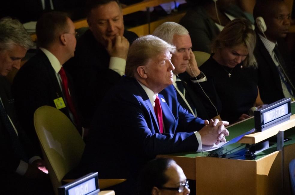 Presidente americano Donald Trump aparece de surpresa na Cúpula do Clima da ONU, em Nova York, nesta segunda (23). — Foto: Saul Loeb/AFP