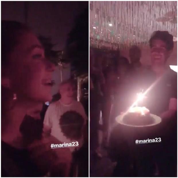 Marina Ruy Barbosa recebendo o bolo surpresa do marido, Xandinho Negrão (Foto: Reprodução/Instagram)