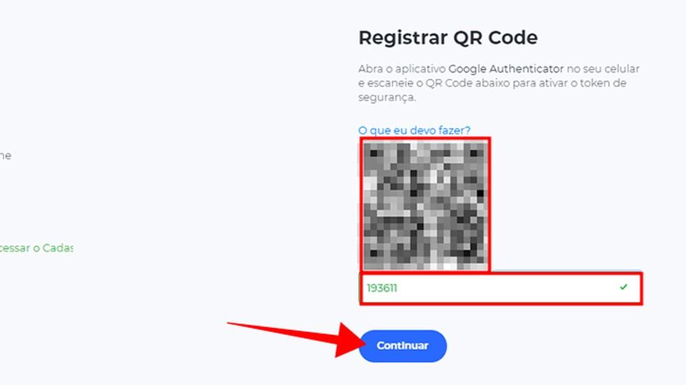 Leia o QR Code com o Google Authenticator e informe o código para prosseguir — Foto: Reprodução/Paulo Alves