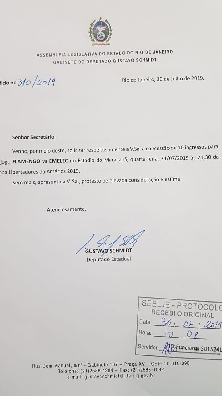 O ofício do deputado Gustavo Schmidt, do PSL de Bolsonaro
